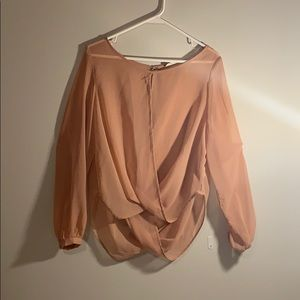 Alythea sheer peach blouse.